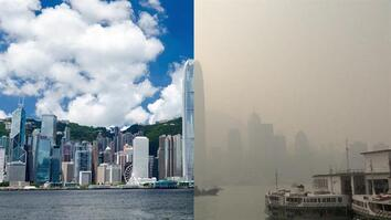 Beautiful Hong Kong Skyline Smothered By Smog