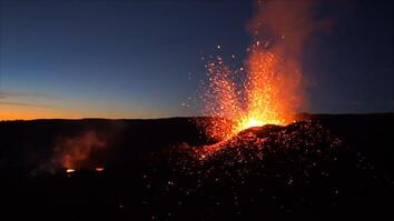 Fly Over a Spectacular Volcano Eruption