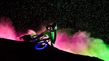 Glowing Mountain Bikers Light up the Night