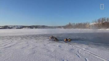 Watch this man brave an icy plunge in the Arctic.