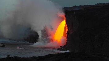 "See a Spectacular Lava ""Waterfall"" Pour Into the Ocean"