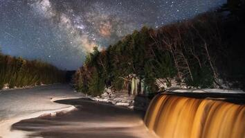 Watch Stars and Meteors Over a Waterfall in Michigan's Tahquamenon Park