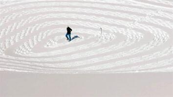 One Man's Walk in the Snow Creates a Giant Masterpiece