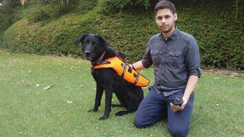 Watch a dog respond to voiceless commands via this vibrating vest