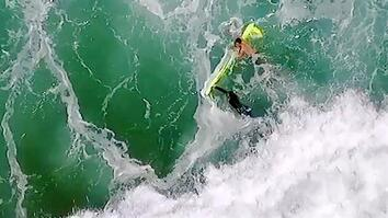 Swimmers Rescued by Drone from Raging Ocean Waves