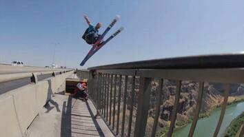 Skiing + Bridge + Parachute = Outrageous BASE Jumps