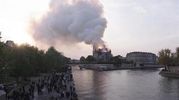 Street scenes from the Notre Dame fire