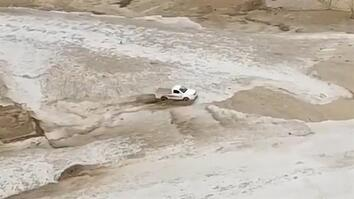 Truck Narrowly Escapes Flash Flood Waters in Saudi Arabia